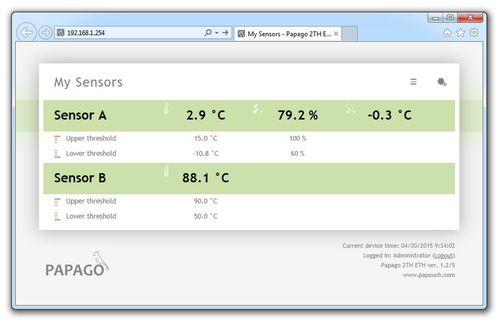 Web interface of the thermometer